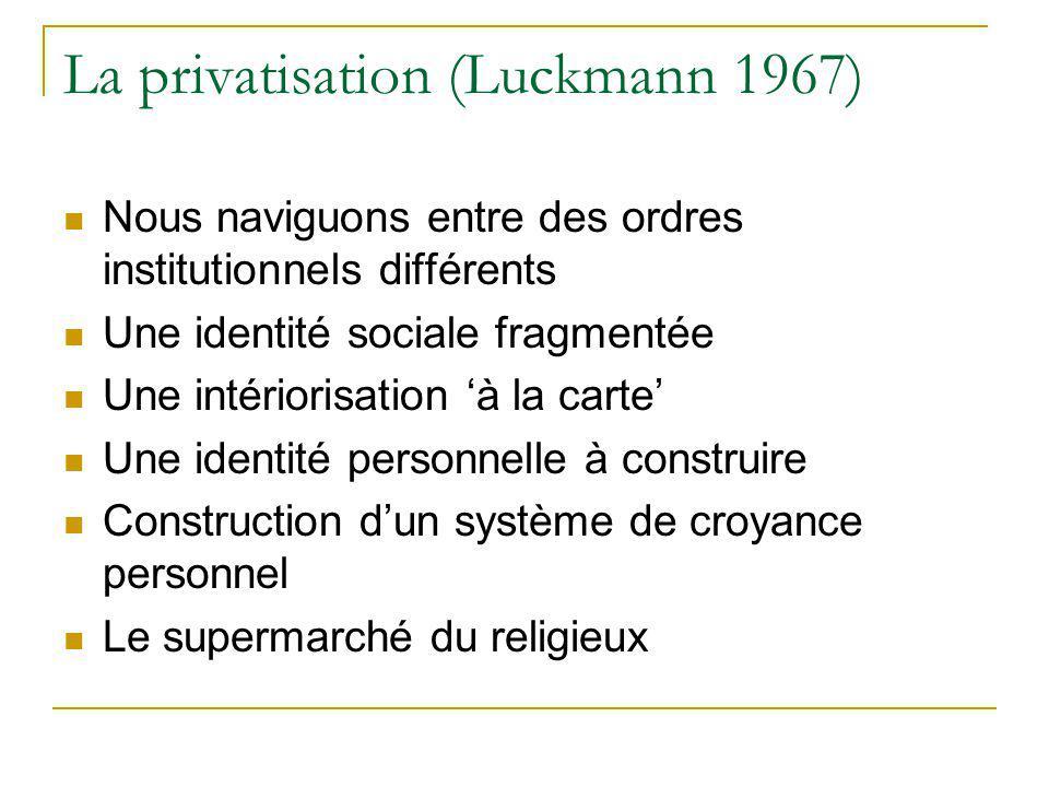 La privatisation (Luckmann 1967) Nous naviguons entre des ordres institutionnels différents Une identité sociale fragmentée Une intériorisation à la c