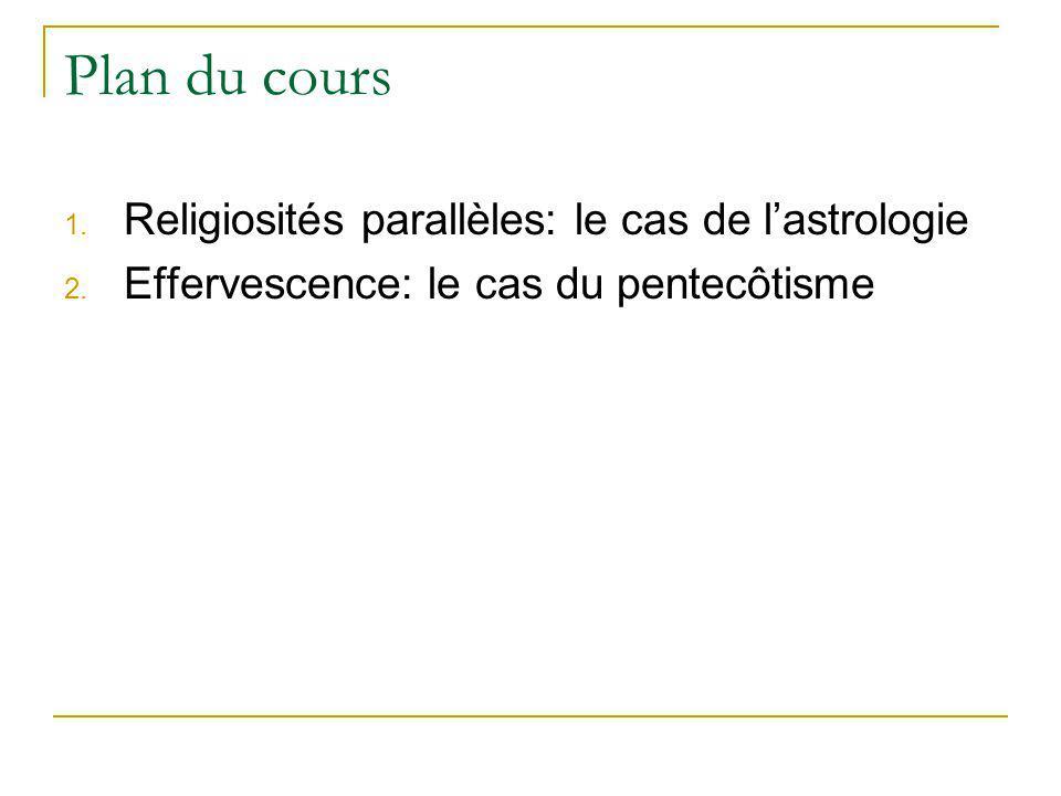 Plan du cours 1. Religiosités parallèles: le cas de lastrologie 2. Effervescence: le cas du pentecôtisme