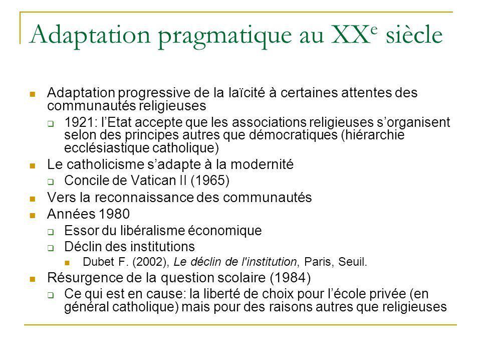 Adaptation pragmatique au XX e siècle Adaptation progressive de la laïcité à certaines attentes des communautés religieuses 1921: lEtat accepte que le