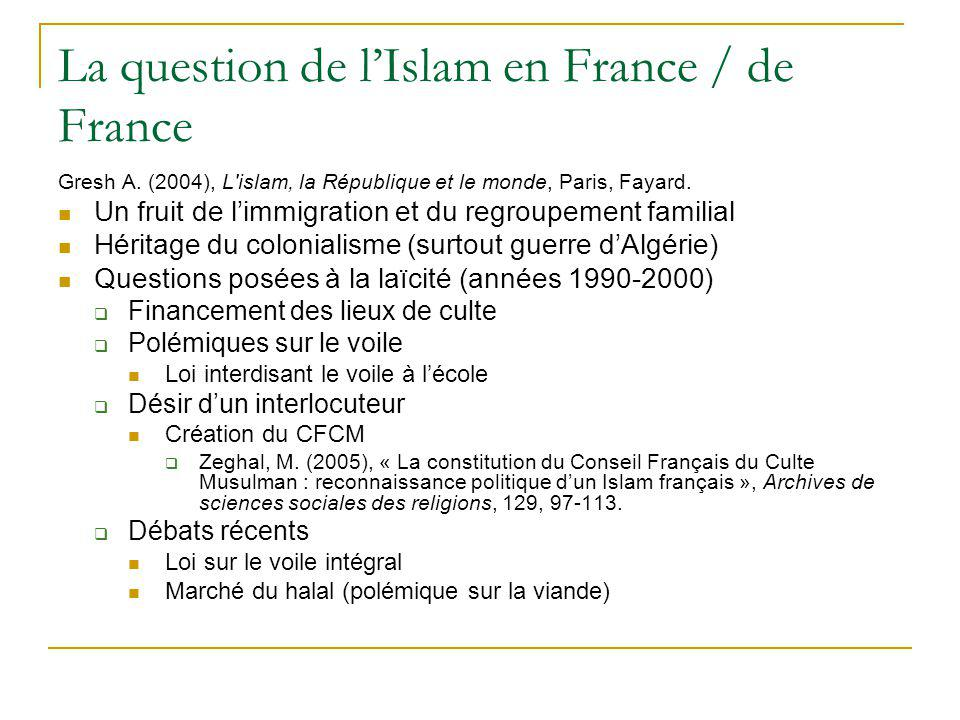 La question de lIslam en France / de France Gresh A. (2004), L'islam, la République et le monde, Paris, Fayard. Un fruit de limmigration et du regroup