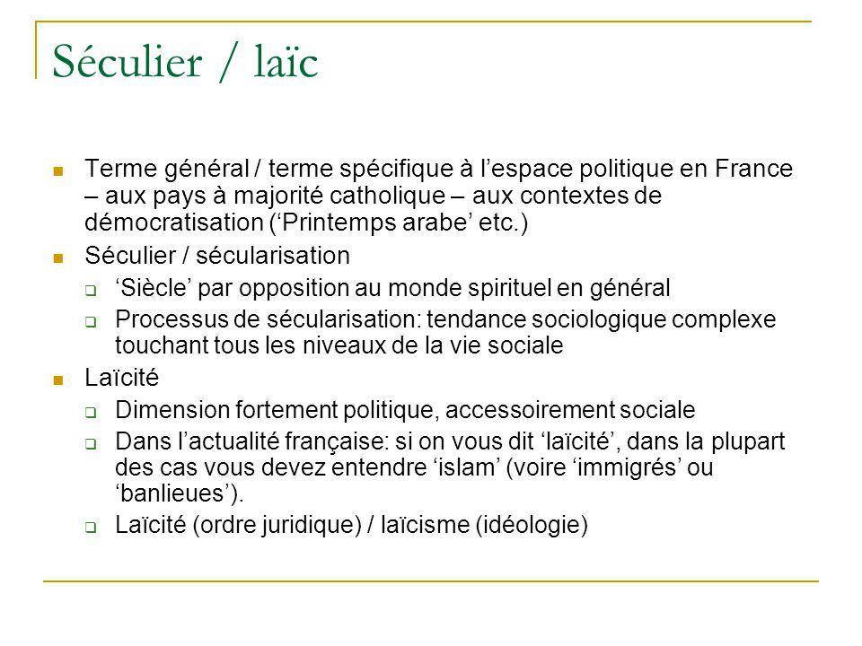 Séculier / laïc Terme général / terme spécifique à lespace politique en France – aux pays à majorité catholique – aux contextes de démocratisation (Pr