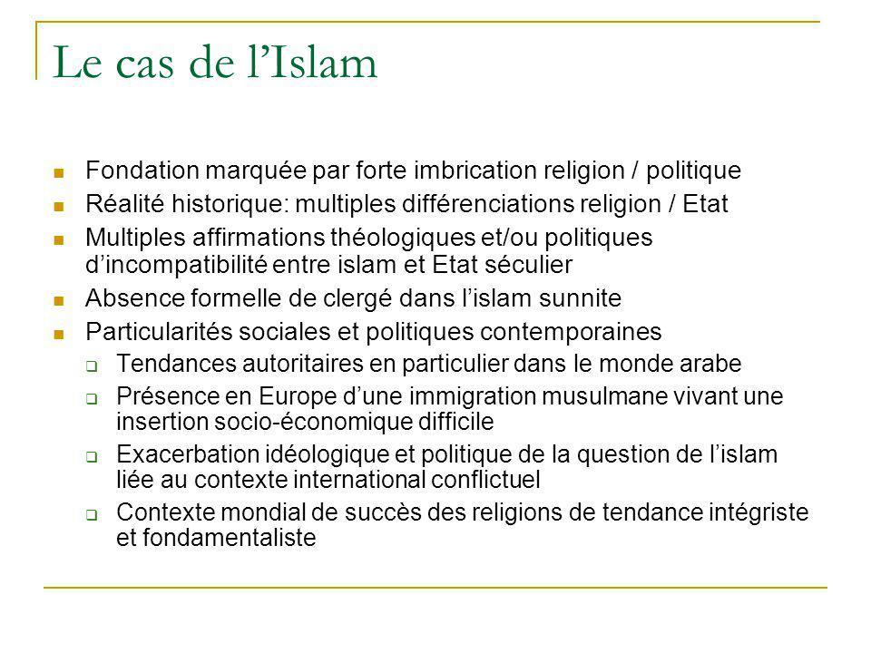 Le cas de lIslam Fondation marquée par forte imbrication religion / politique Réalité historique: multiples différenciations religion / Etat Multiples