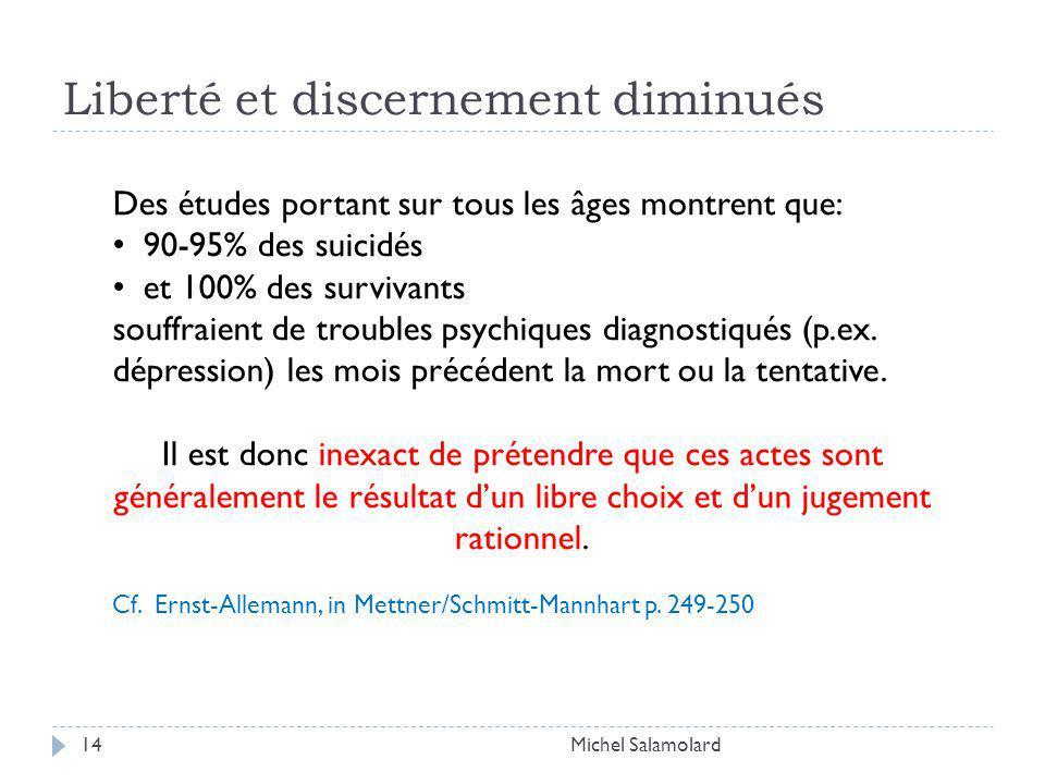 Liberté et discernement diminués Michel Salamolard14 Des études portant sur tous les âges montrent que: 90-95% des suicidés et 100% des survivants souffraient de troubles psychiques diagnostiqués (p.ex.