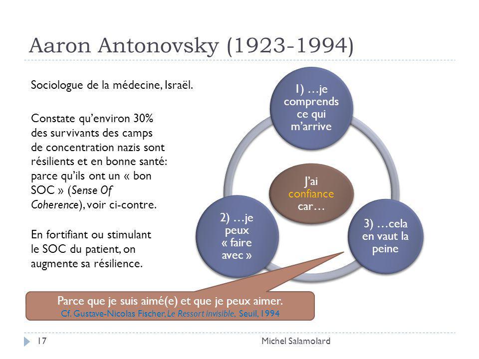 Aaron Antonovsky (1923-1994) Michel Salamolard17 Jai confiance car… 1) …je comprends ce qui marrive 3) …cela en vaut la peine 2) …je peux « faire avec » Sociologue de la médecine, Israël.