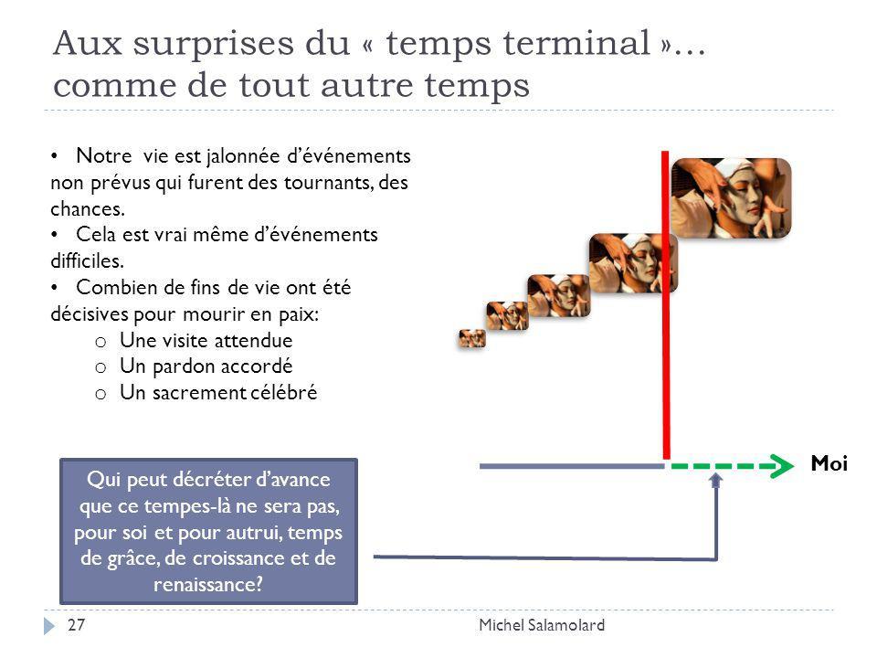 Aux surprises du « temps terminal »… comme de tout autre temps Michel Salamolard27 Moi Notre vie est jalonnée dévénements non prévus qui furent des tournants, des chances.