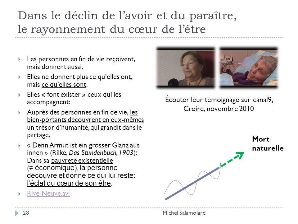 Dans le déclin de lavoir et du paraître, le rayonnement du cœur de lêtre Michel Salamolard28 Les personnes en fin de vie reçoivent, mais donnent aussi.