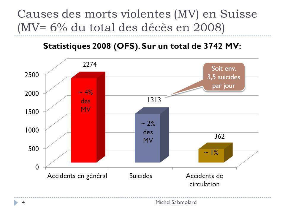 Causes des morts violentes (MV) en Suisse (MV= 6% du total des décès en 2008) Michel Salamolard4 Soit env.