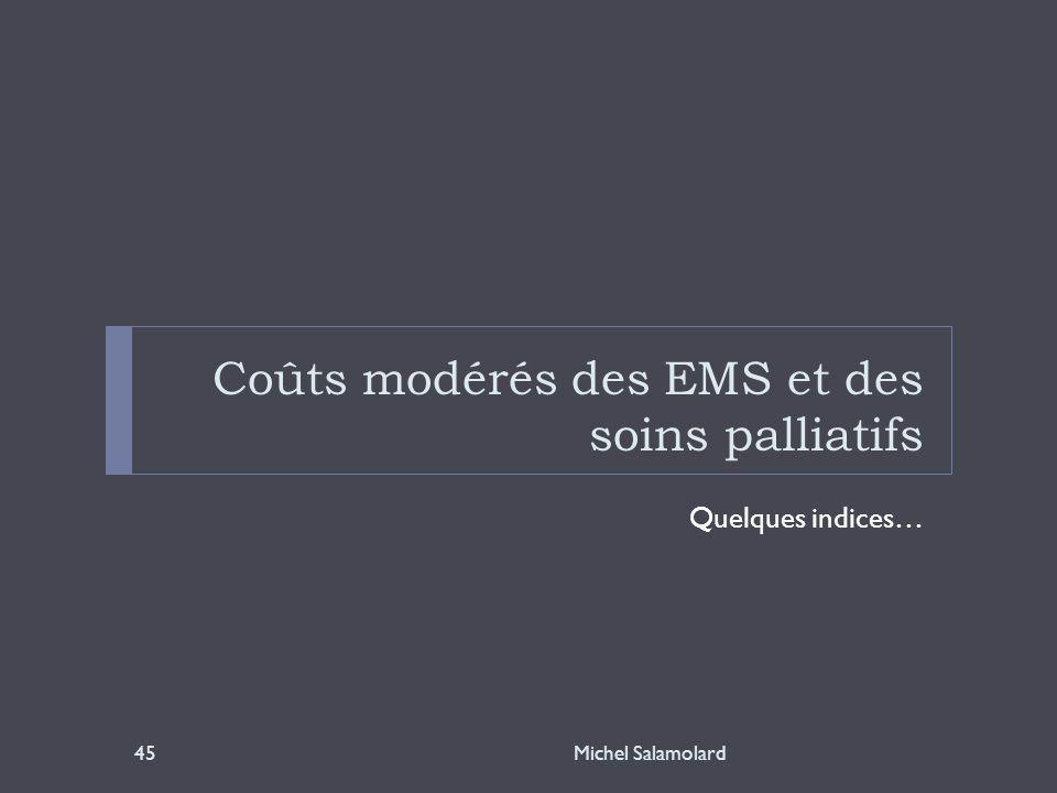 Coûts modérés des EMS et des soins palliatifs Quelques indices… Michel Salamolard45