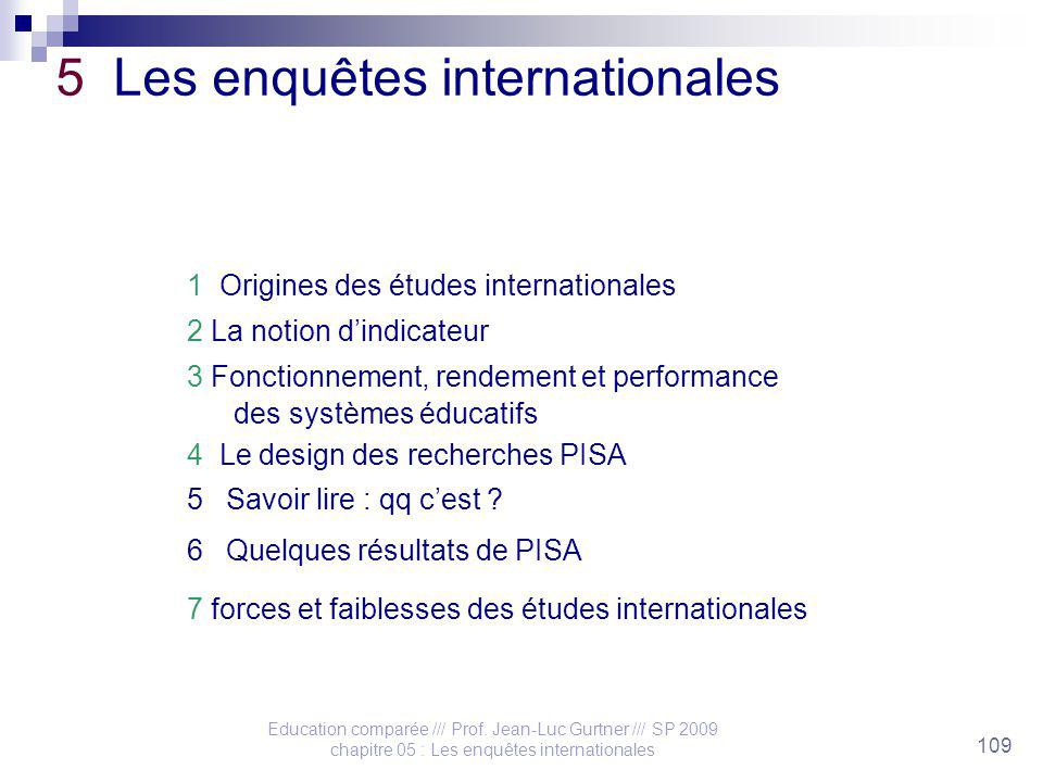 Education comparée /// Prof. Jean-Luc Gurtner /// SP 2009 chapitre 05 : Les enquêtes internationales 109 5 Les enquêtes internationales 1 Origines des