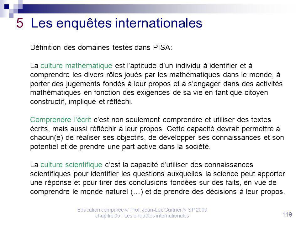 Education comparée /// Prof. Jean-Luc Gurtner /// SP 2009 chapitre 05 : Les enquêtes internationales 119 5 Les enquêtes internationales Définition des