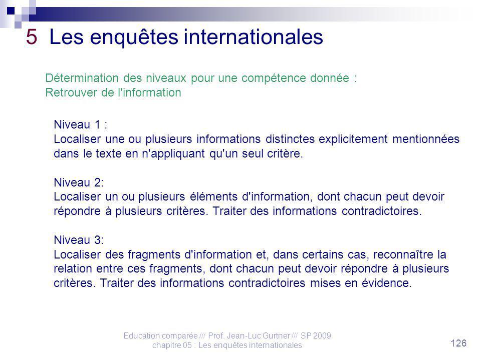 Education comparée /// Prof. Jean-Luc Gurtner /// SP 2009 chapitre 05 : Les enquêtes internationales 126 5 Les enquêtes internationales Détermination