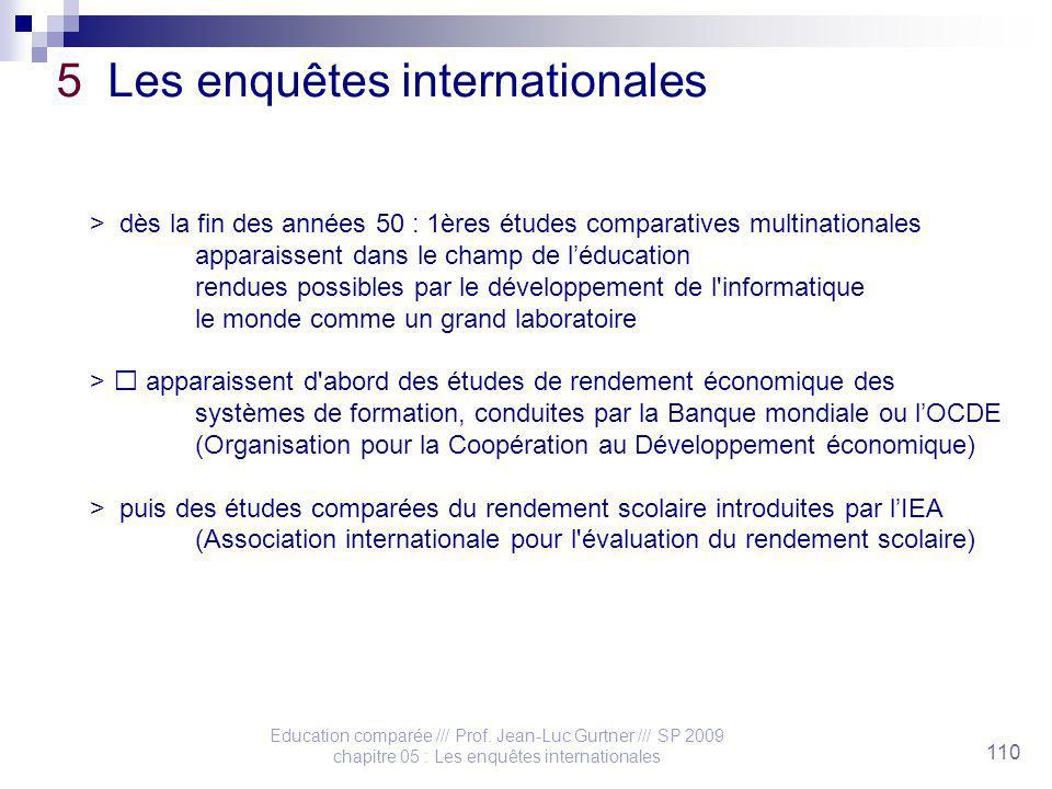 Education comparée /// Prof. Jean-Luc Gurtner /// SP 2009 chapitre 05 : Les enquêtes internationales 110 5 Les enquêtes internationales > dès la fin d