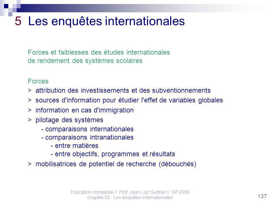 Education comparée /// Prof. Jean-Luc Gurtner /// SP 2009 chapitre 05 : Les enquêtes internationales 137 5 Les enquêtes internationales Forces et faib
