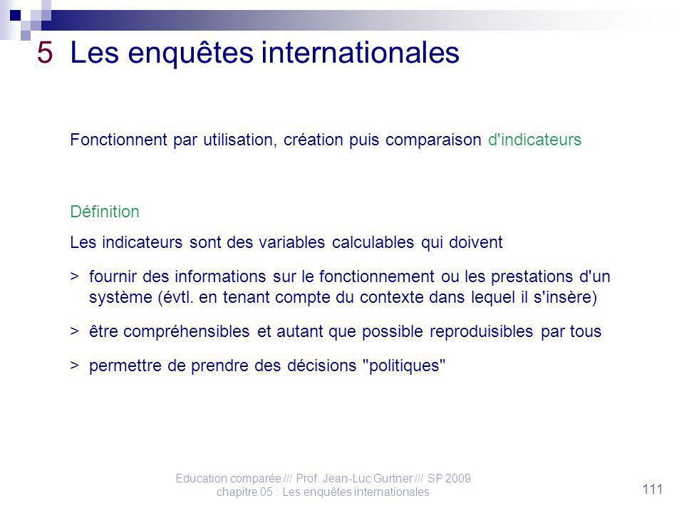 Education comparée /// Prof. Jean-Luc Gurtner /// SP 2009 chapitre 05 : Les enquêtes internationales 111 5 Les enquêtes internationales Fonctionnent p