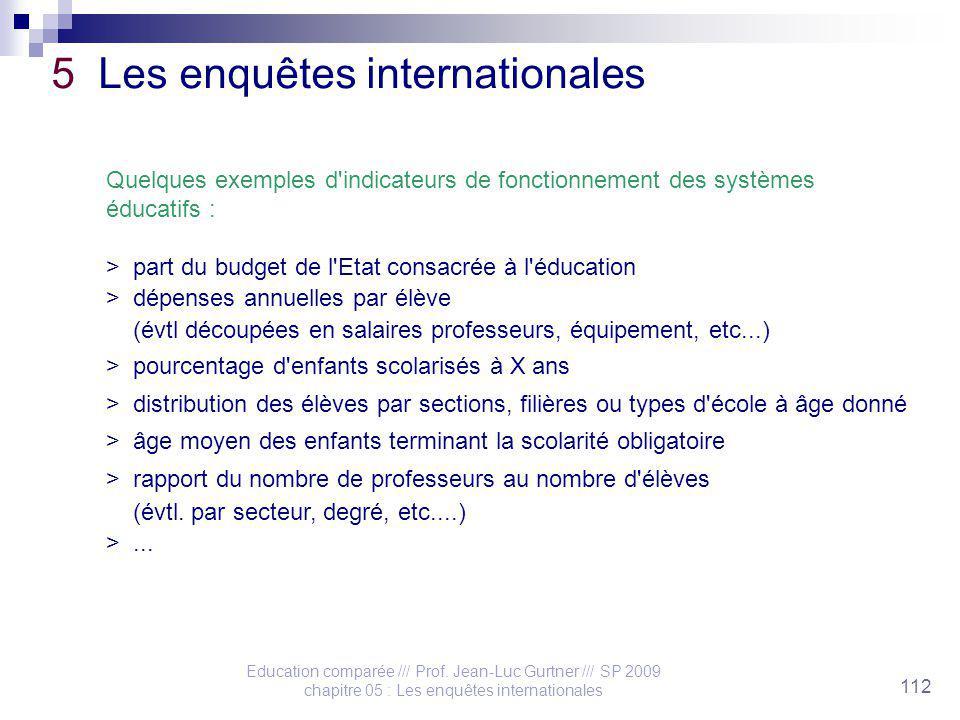 Education comparée /// Prof. Jean-Luc Gurtner /// SP 2009 chapitre 05 : Les enquêtes internationales 112 5 Les enquêtes internationales Quelques exemp