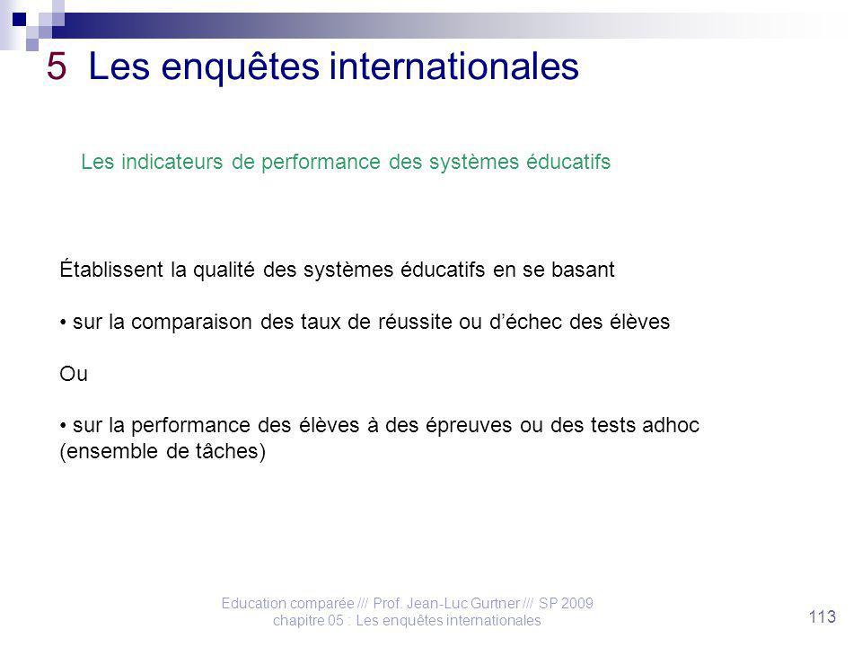 Education comparée /// Prof. Jean-Luc Gurtner /// SP 2009 chapitre 05 : Les enquêtes internationales 113 5 Les enquêtes internationales Les indicateur
