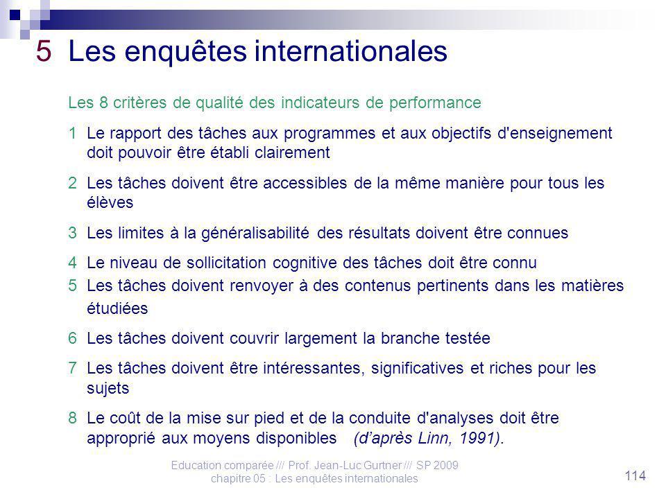 Education comparée /// Prof. Jean-Luc Gurtner /// SP 2009 chapitre 05 : Les enquêtes internationales 114 5 Les enquêtes internationales Les 8 critères