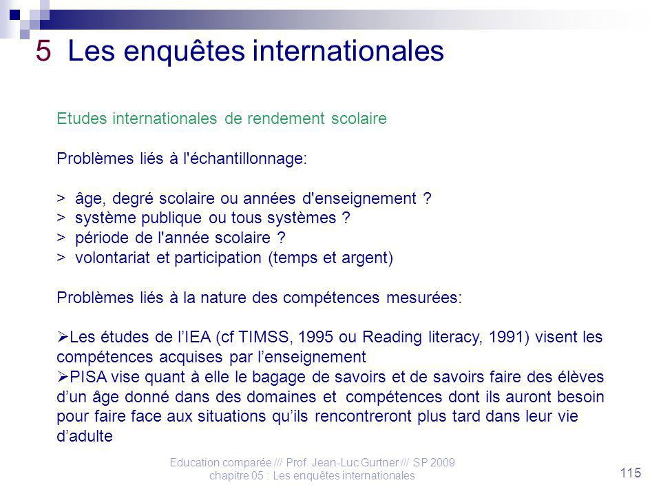 Education comparée /// Prof. Jean-Luc Gurtner /// SP 2009 chapitre 05 : Les enquêtes internationales 115 5 Les enquêtes internationales Etudes interna