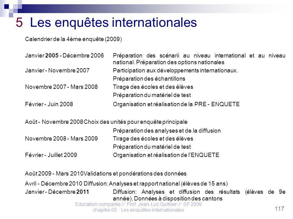 Education comparée /// Prof. Jean-Luc Gurtner /// SP 2009 chapitre 05 : Les enquêtes internationales 117 5 Les enquêtes internationales Calendrier de