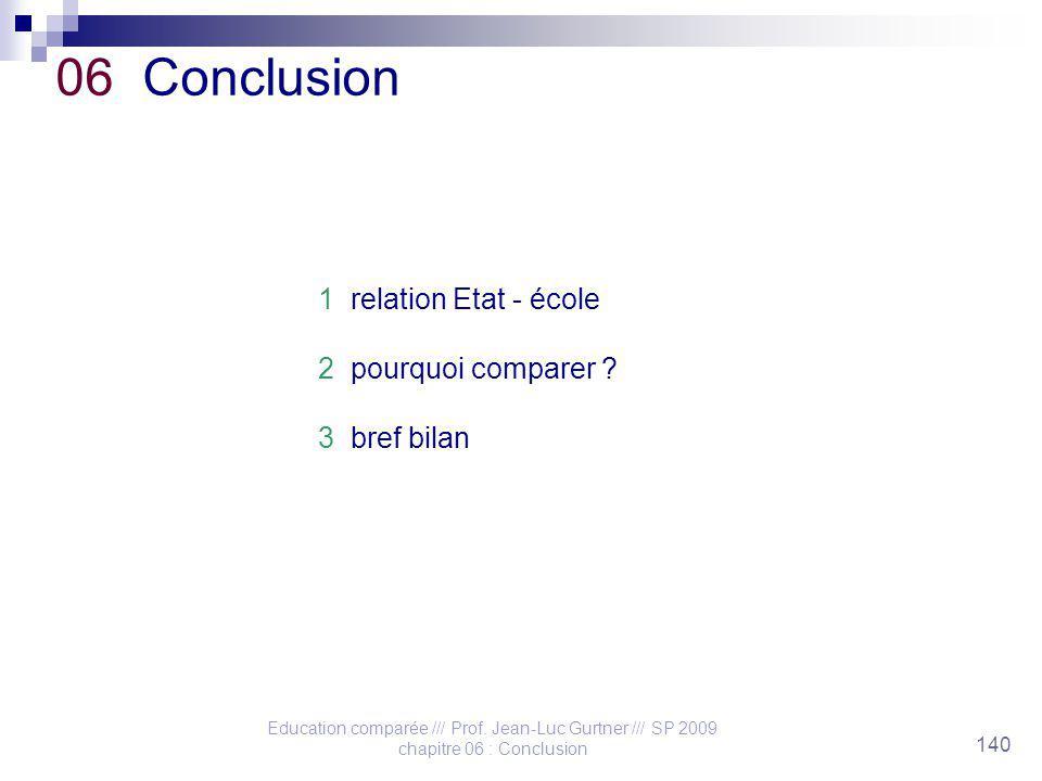 Education comparée /// Prof. Jean-Luc Gurtner /// SP 2009 chapitre 06 : Conclusion 140 06 Conclusion 1 relation Etat - école 2 pourquoi comparer ? 3 b