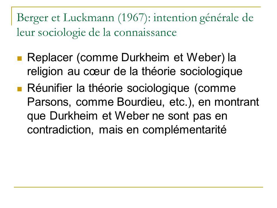 Berger et Luckmann (1967): intention générale de leur sociologie de la connaissance Replacer (comme Durkheim et Weber) la religion au cœur de la théor