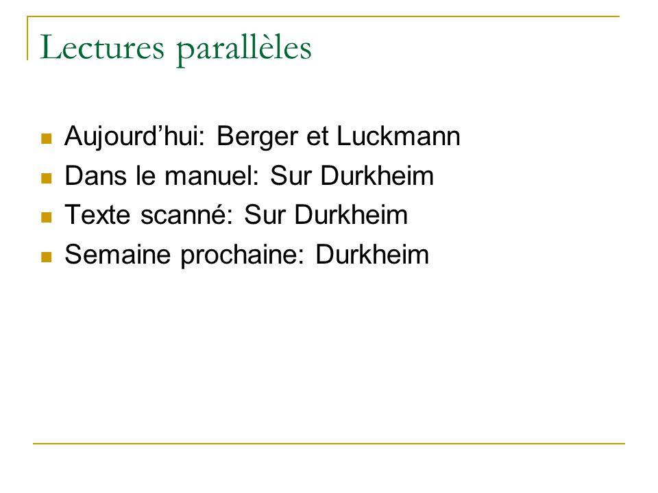 Lectures parallèles Aujourdhui: Berger et Luckmann Dans le manuel: Sur Durkheim Texte scanné: Sur Durkheim Semaine prochaine: Durkheim