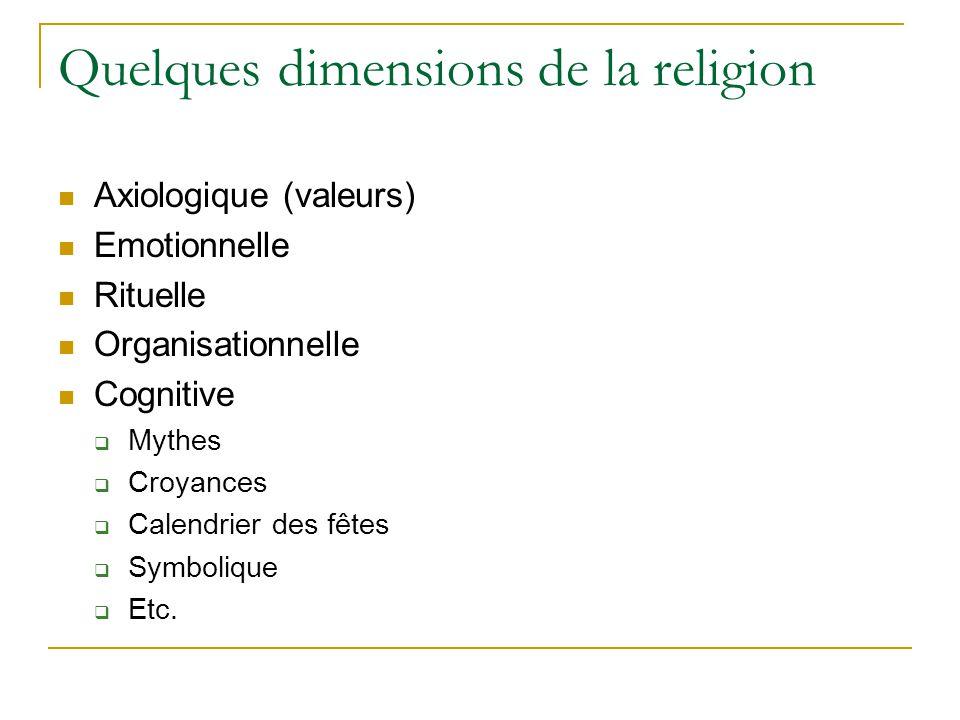 Quelques dimensions de la religion Axiologique (valeurs) Emotionnelle Rituelle Organisationnelle Cognitive Mythes Croyances Calendrier des fêtes Symbolique Etc.