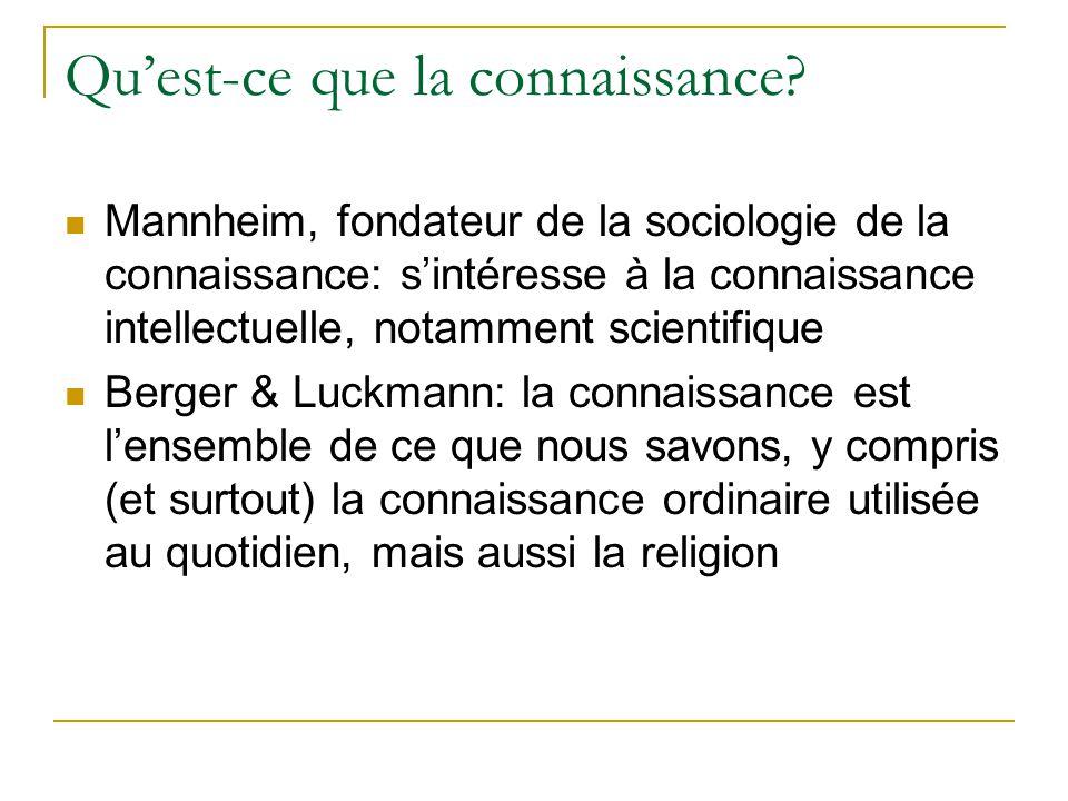Quest-ce que la connaissance? Mannheim, fondateur de la sociologie de la connaissance: sintéresse à la connaissance intellectuelle, notamment scientif