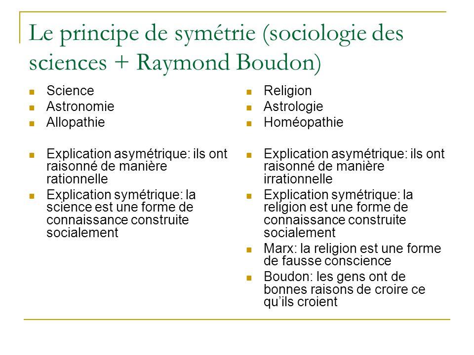 Le principe de symétrie (sociologie des sciences + Raymond Boudon) Science Astronomie Allopathie Explication asymétrique: ils ont raisonné de manière