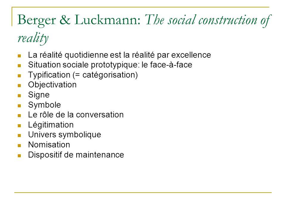 Berger & Luckmann: The social construction of reality La réalité quotidienne est la réalité par excellence Situation sociale prototypique: le face-à-f