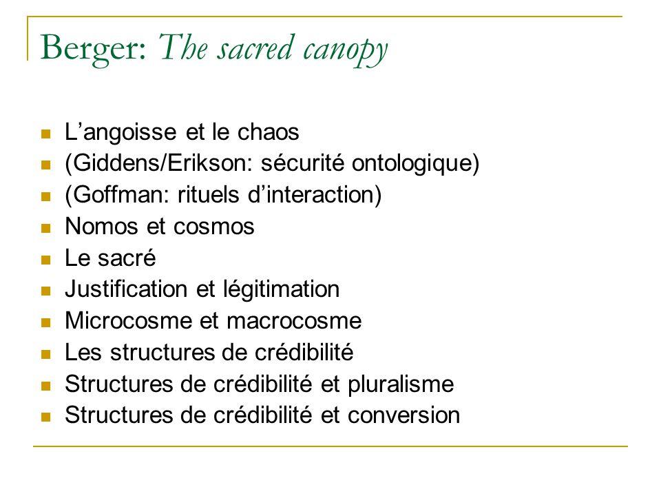 Berger: The sacred canopy Langoisse et le chaos (Giddens/Erikson: sécurité ontologique) (Goffman: rituels dinteraction) Nomos et cosmos Le sacré Justi