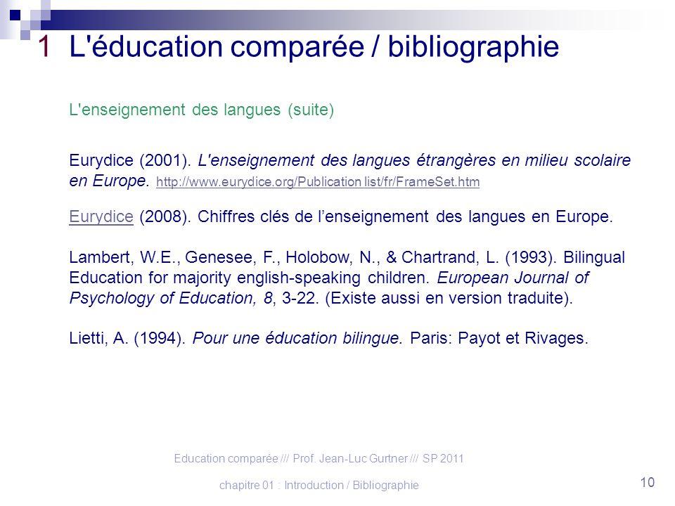 Education comparée /// Prof. Jean-Luc Gurtner /// SP 2011 chapitre 01 : Introduction / Bibliographie 10 1 L'éducation comparée / bibliographie L'ensei