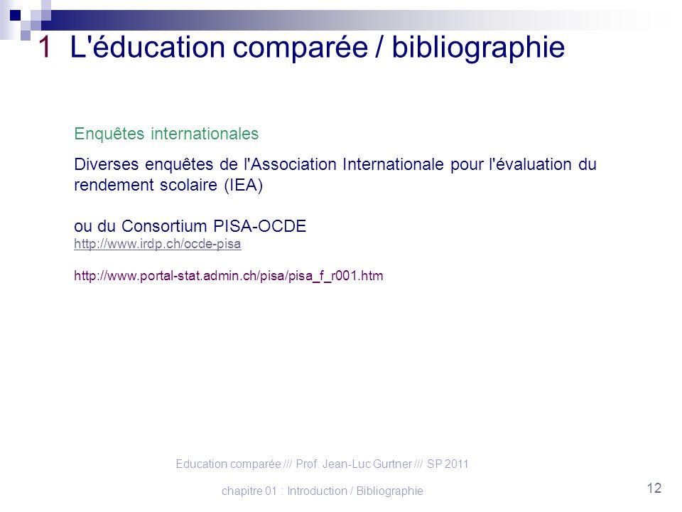 Education comparée /// Prof. Jean-Luc Gurtner /// SP 2011 chapitre 01 : Introduction / Bibliographie 12 1 L'éducation comparée / bibliographie Enquête