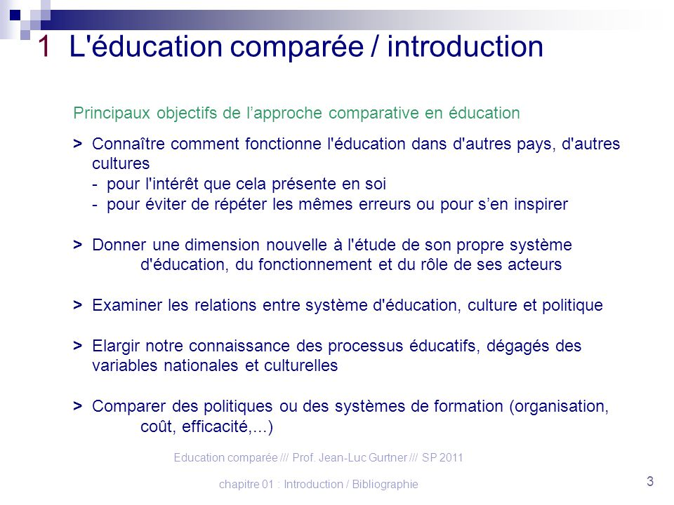Education comparée /// Prof. Jean-Luc Gurtner /// SP 2011 chapitre 01 : Introduction / Bibliographie 3 1 L'éducation comparée / introduction Principau