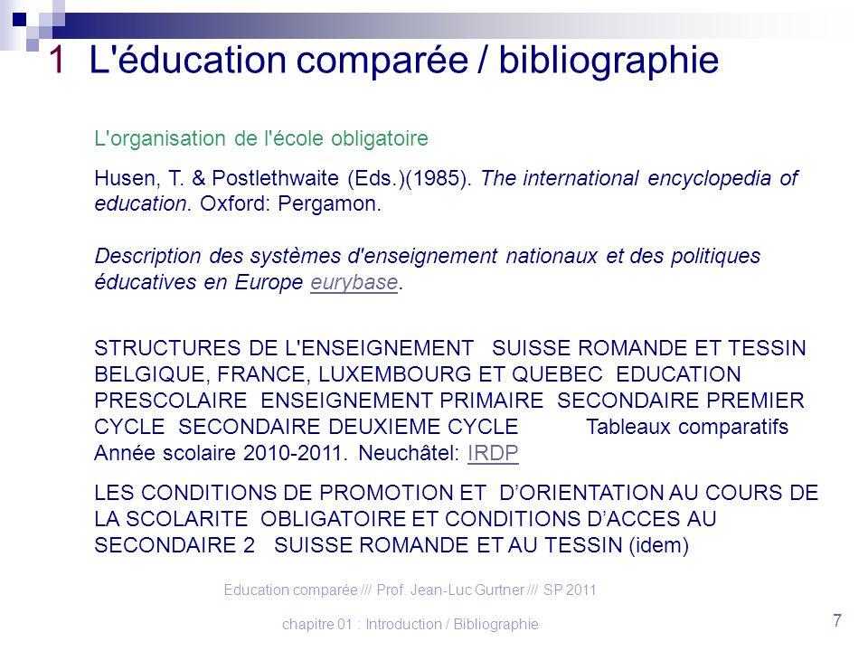 Education comparée /// Prof. Jean-Luc Gurtner /// SP 2011 chapitre 01 : Introduction / Bibliographie 7 1 L'éducation comparée / bibliographie L'organi