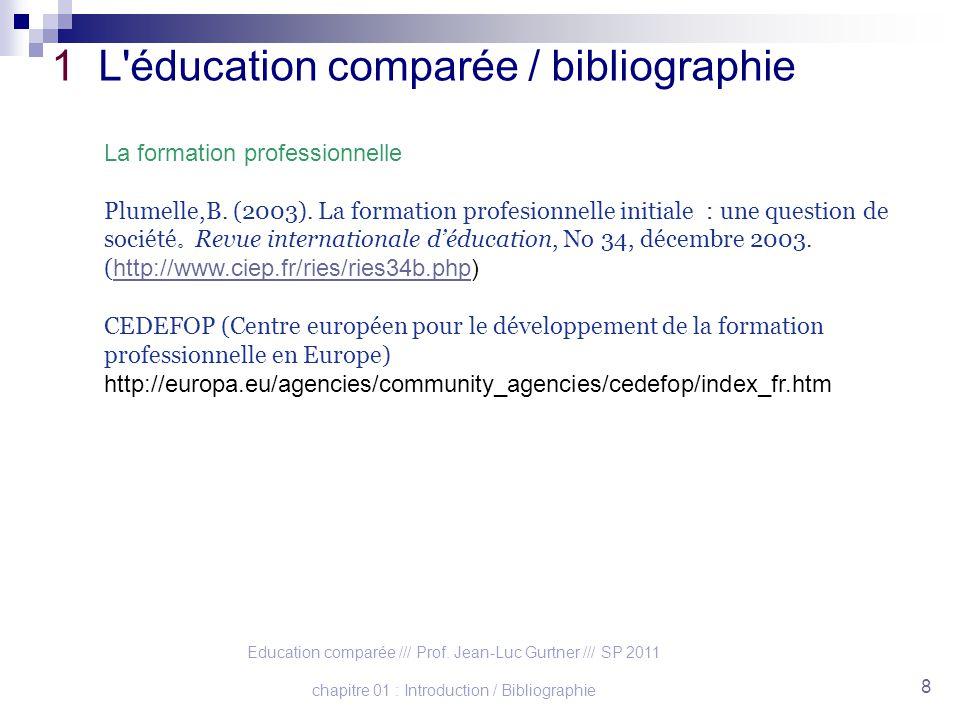 Education comparée /// Prof. Jean-Luc Gurtner /// SP 2011 chapitre 01 : Introduction / Bibliographie 8 1 L'éducation comparée / bibliographie La forma