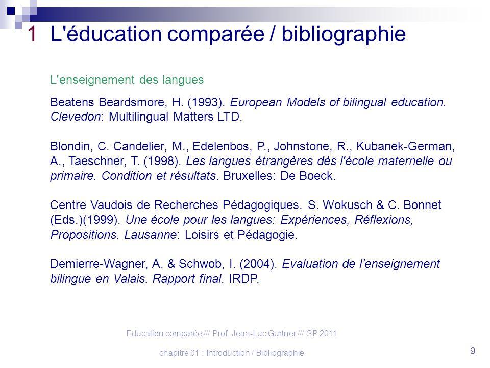 Education comparée /// Prof. Jean-Luc Gurtner /// SP 2011 chapitre 01 : Introduction / Bibliographie 9 1 L'éducation comparée / bibliographie L'enseig