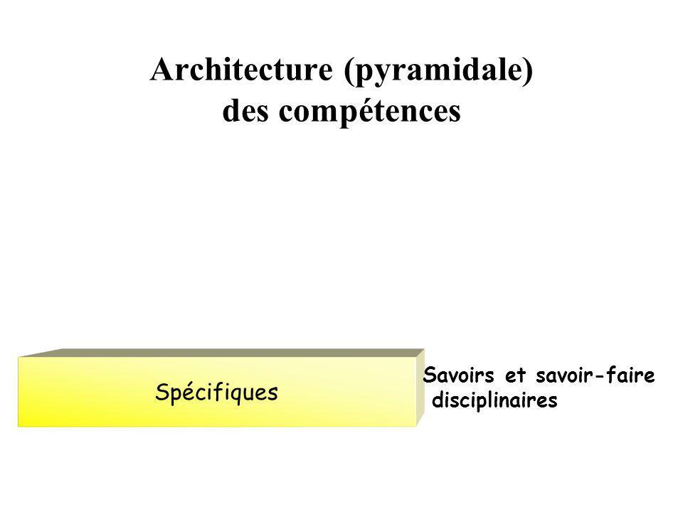 Dautres outils pour décrire les compétences spécifiques Taxonomie de Bloom –Connaître –Comprendre –Appliquer –Analyser –Synthétiser –Evaluer