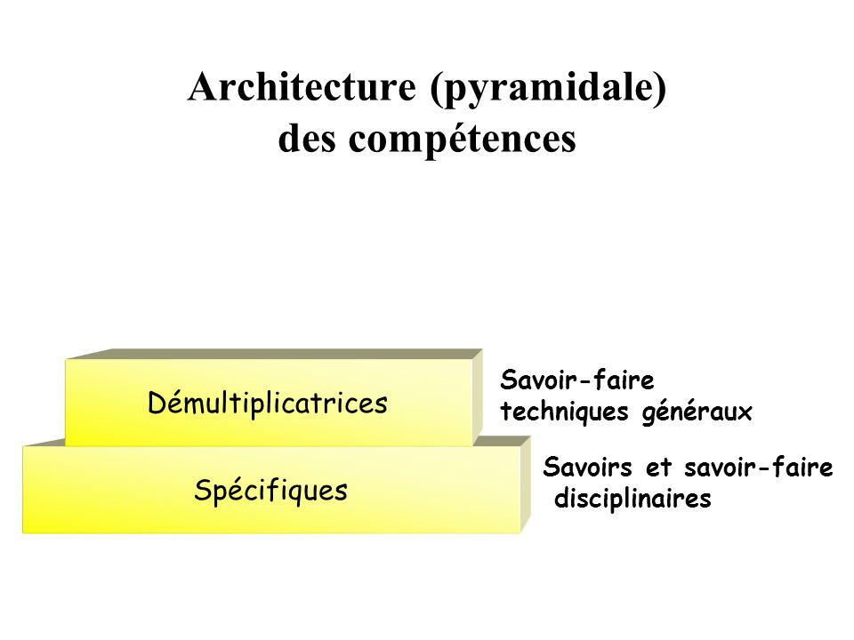 Architecture (pyramidale) des compétences Spécifiques Démultiplicatrices Savoirs et savoir-faire disciplinaires Savoir-faire techniques généraux