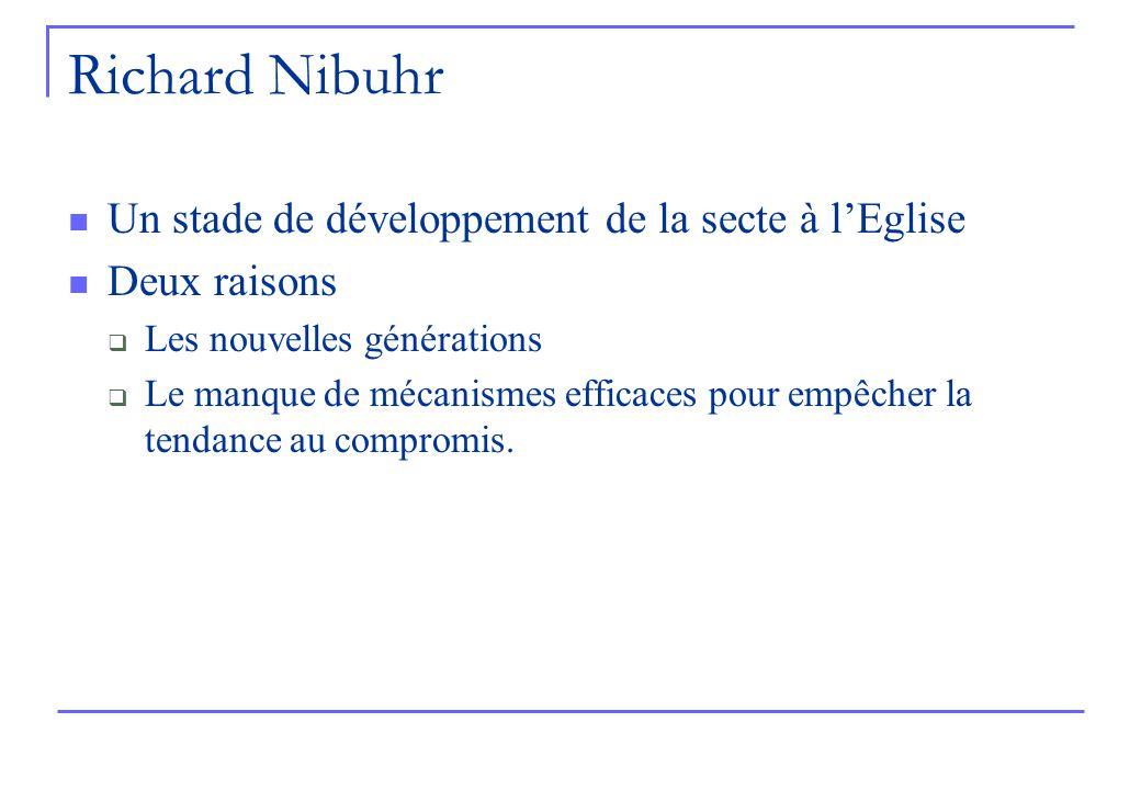 Richard Nibuhr Un stade de développement de la secte à lEglise Deux raisons Les nouvelles générations Le manque de mécanismes efficaces pour empêcher la tendance au compromis.