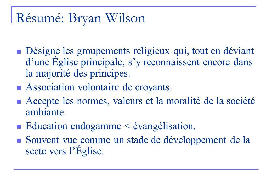 Résumé: Bryan Wilson Désigne les groupements religieux qui, tout en déviant dune Église principale, sy reconnaissent encore dans la majorité des princ