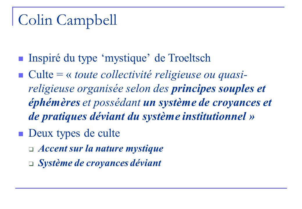 Colin Campbell Inspiré du type mystique de Troeltsch Culte = « toute collectivité religieuse ou quasi- religieuse organisée selon des principes souples et éphémères et possédant un système de croyances et de pratiques déviant du système institutionnel » Deux types de culte Accent sur la nature mystique Système de croyances déviant