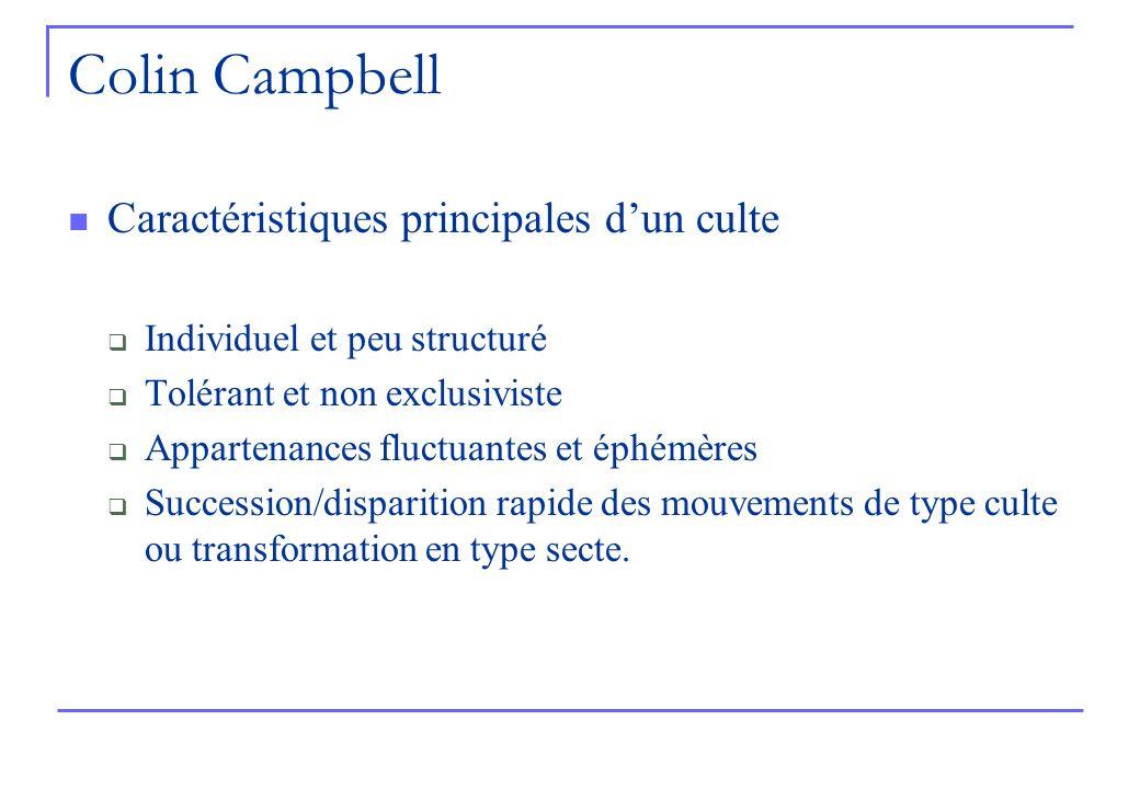 Colin Campbell Caractéristiques principales dun culte Individuel et peu structuré Tolérant et non exclusiviste Appartenances fluctuantes et éphémères