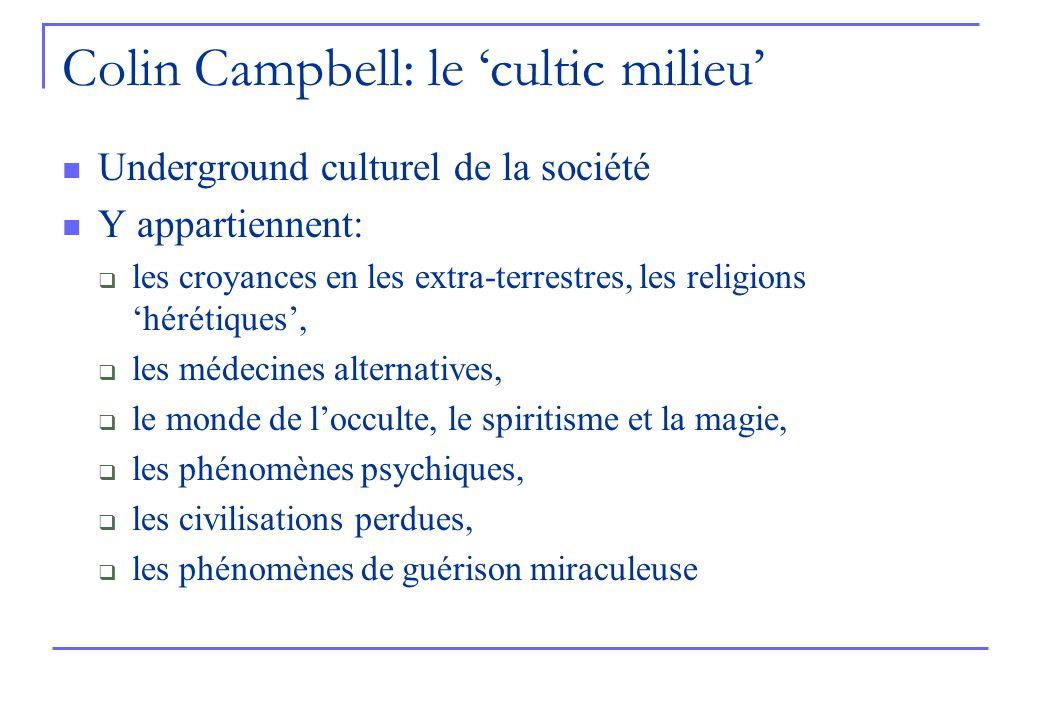 Colin Campbell: le cultic milieu Underground culturel de la société Y appartiennent: les croyances en les extra-terrestres, les religions hérétiques, les médecines alternatives, le monde de locculte, le spiritisme et la magie, les phénomènes psychiques, les civilisations perdues, les phénomènes de guérison miraculeuse