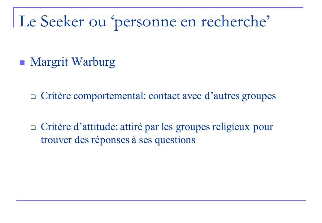 Le Seeker ou personne en recherche Margrit Warburg Critère comportemental: contact avec dautres groupes Critère dattitude: attiré par les groupes religieux pour trouver des réponses à ses questions