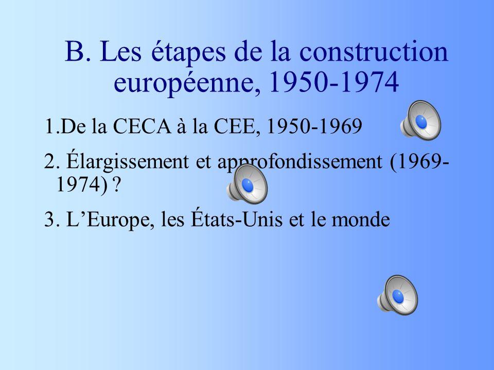 B. Les étapes de la construction européenne, 1950-1974 1.De la CECA à la CEE, 1950-1969 2. Élargissement et approfondissement (1969- 1974) ? 3. LEurop