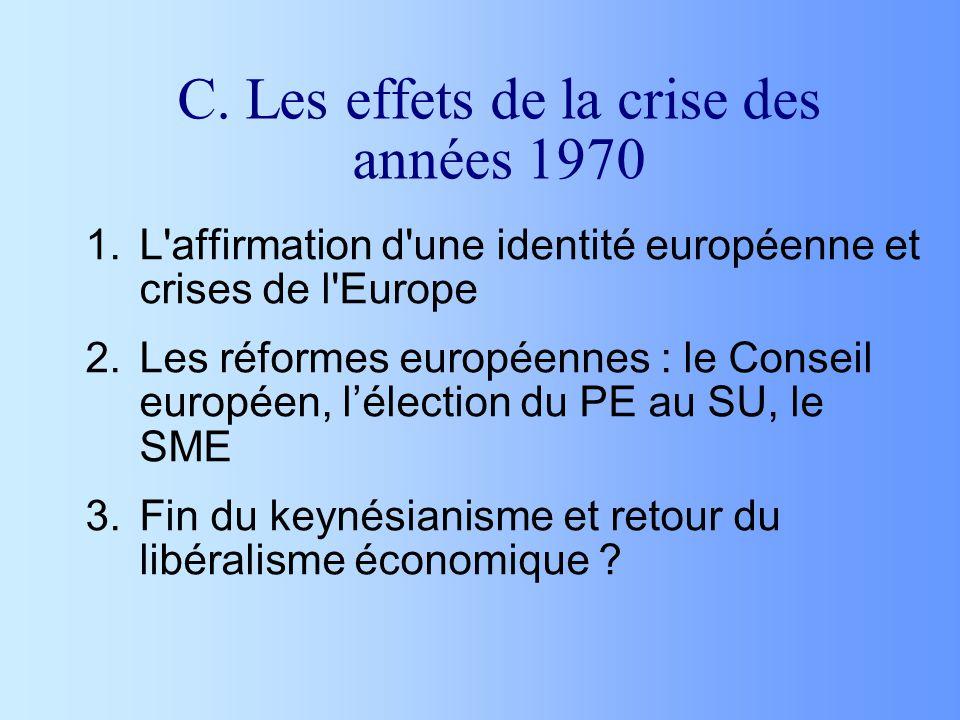 C. Les effets de la crise des années 1970 1.L'affirmation d'une identité européenne et crises de l'Europe 2.Les réformes européennes : le Conseil euro