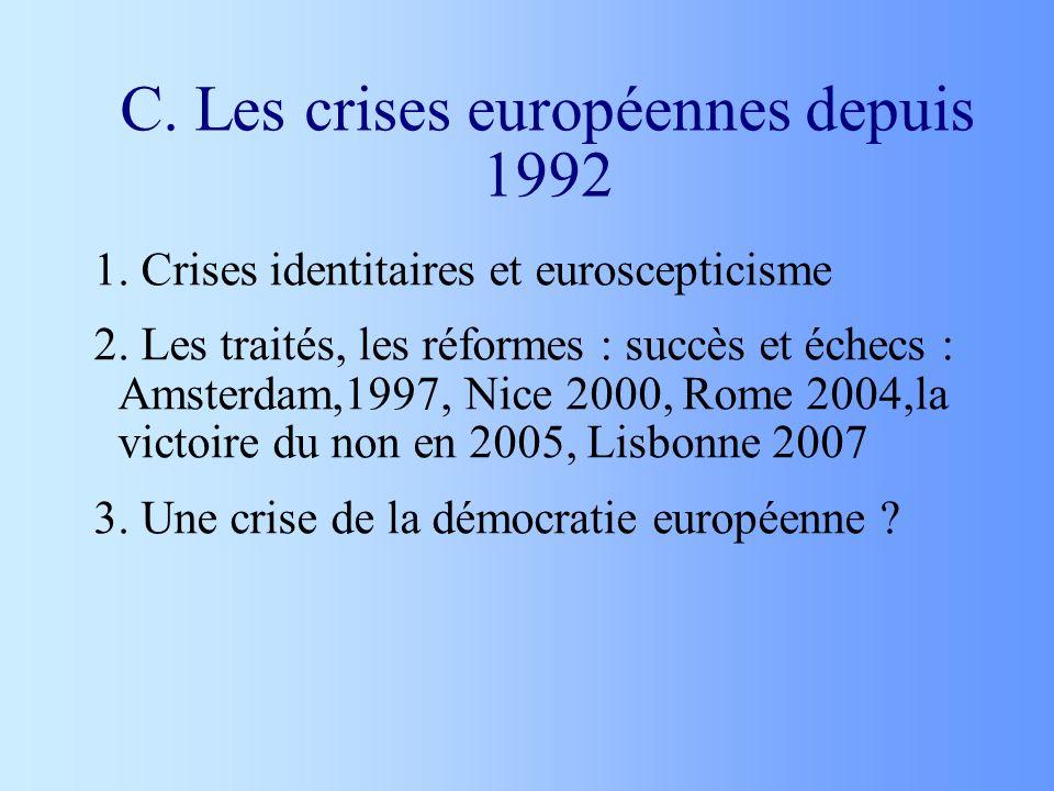 C. Les crises européennes depuis 1992 1. Crises identitaires et euroscepticisme 2. Les traités, les réformes : succès et échecs : Amsterdam,1997, Nice