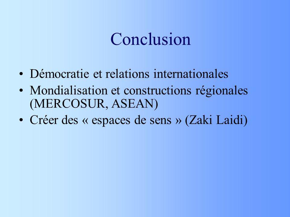 Conclusion Démocratie et relations internationales Mondialisation et constructions régionales (MERCOSUR, ASEAN) Créer des « espaces de sens » (Zaki La