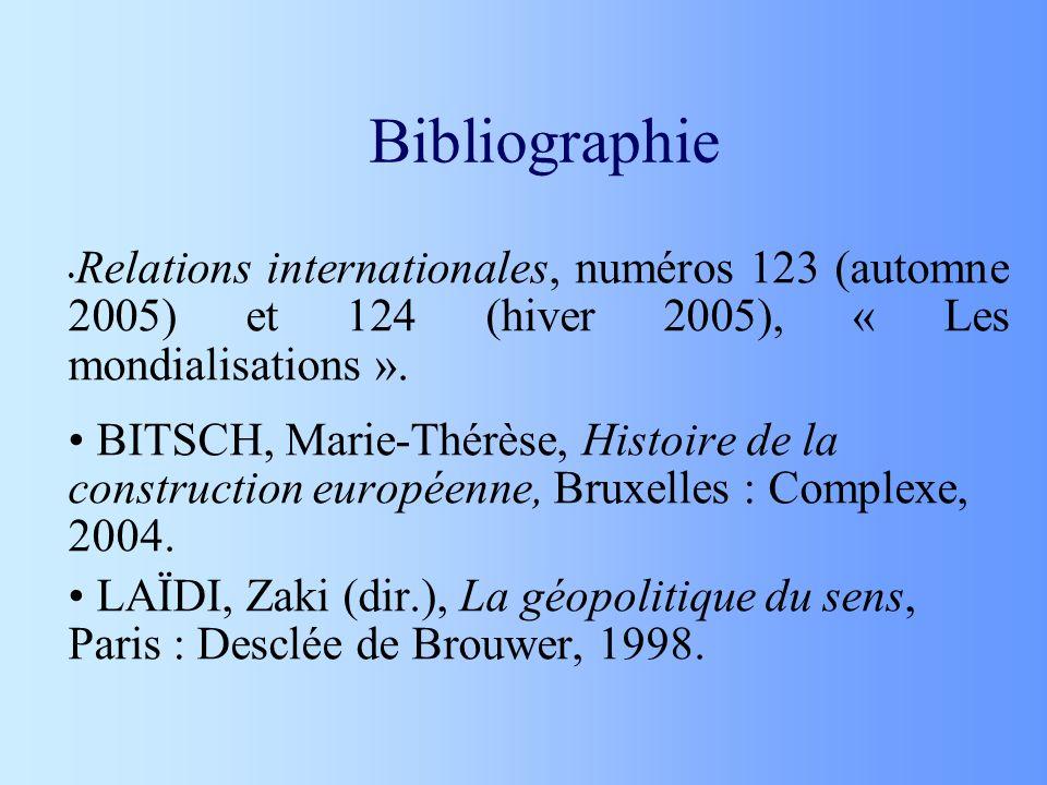 Bibliographie Relations internationales, numéros 123 (automne 2005) et 124 (hiver 2005), « Les mondialisations ». BITSCH, Marie-Thérèse, Histoire de l